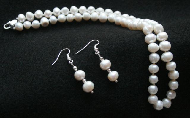 Комплект огърлица, гривна и обеци от естествени перли от о-в Майорка-бижута