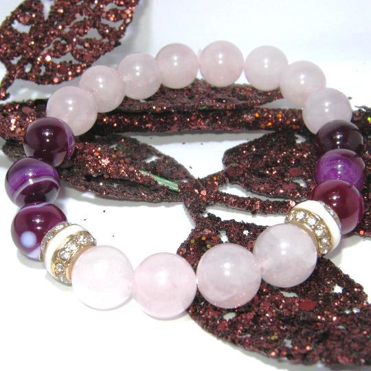 Гривна от ахати и розов кварц-полускъпоценни камъни К4