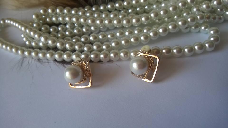 Огърлица,гривна и обеци от естествени перли от о-в Майорка