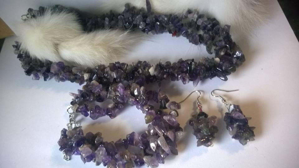 Колие,обеци и гривна от естествени камъни -АМЕТИСТ