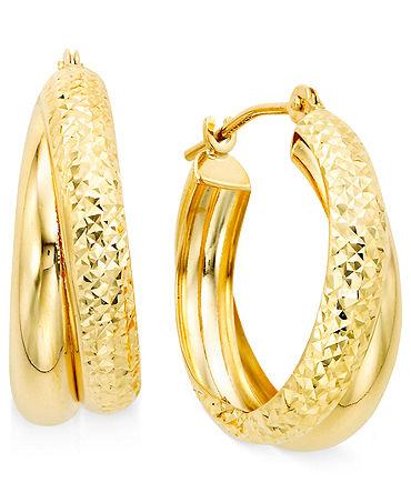 Обеци от 18КТ злато и стомана