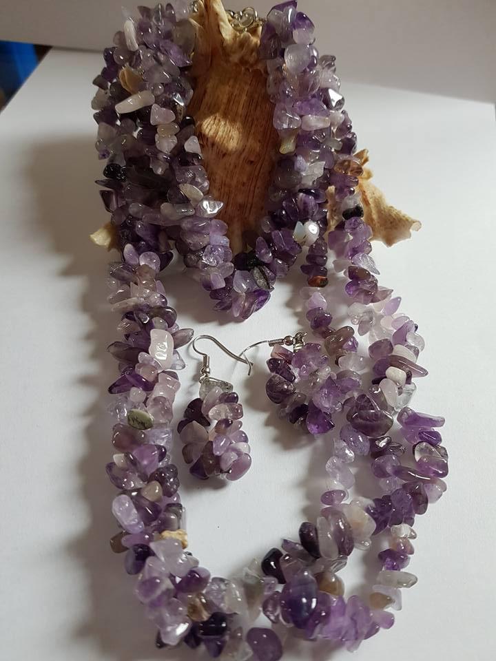 Комплект от естествени камъни АМЕТИСТ