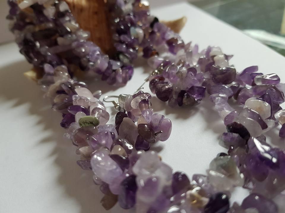 Бижута АМЕТИСТ комплект от естествени камъни