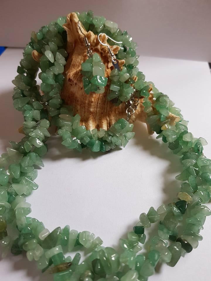 Бижута НЕФРИТ комплект от естествени камъни