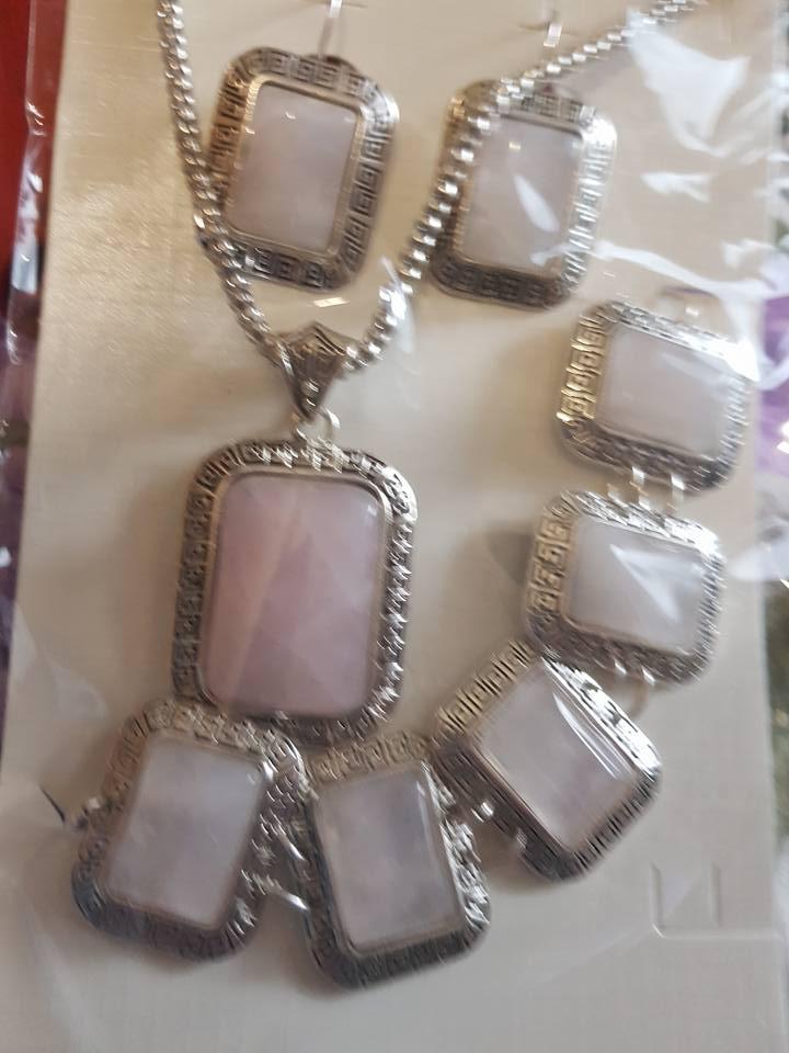 Бижута комплект от естествени камъни розов кварц
