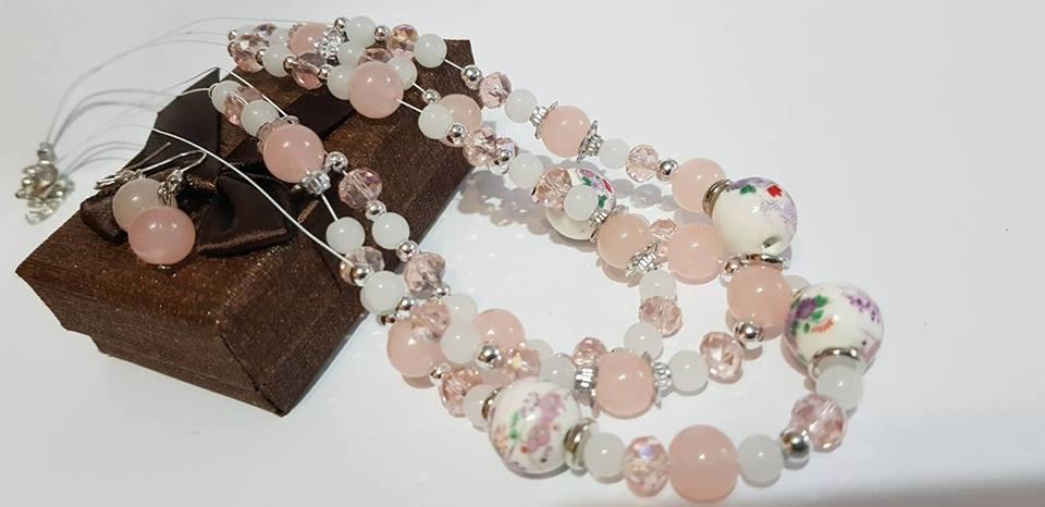 Бижута от естествени камъни  розов кварц