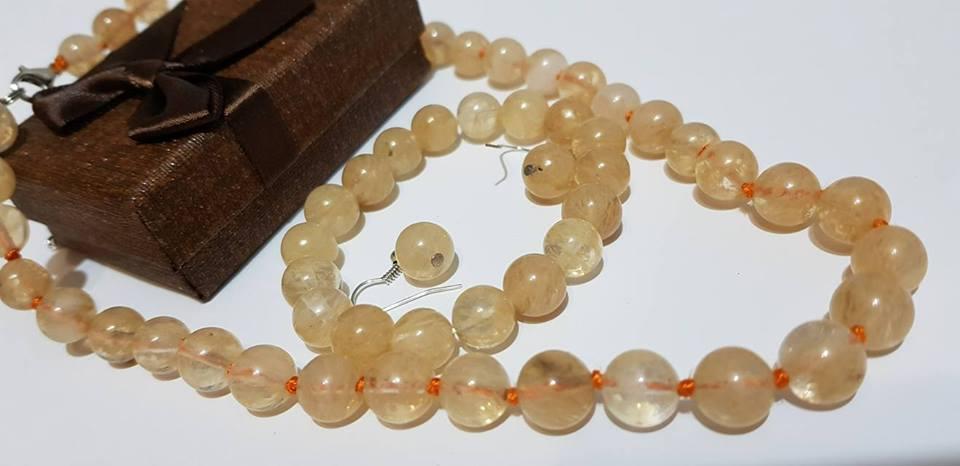 Комплект от естествени камъни ЦИТРИН за здраве късмет,любов  и пари за всички зодии