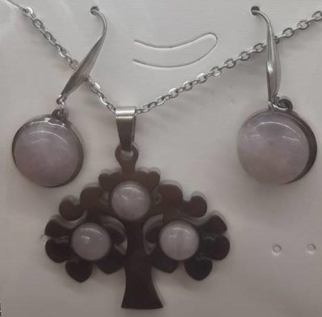 Комплект от естествени камъни  за здраве любов и пари  розов кварц