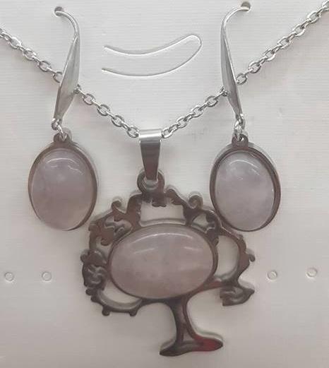 Комплект от естествени камъни розов кварц ЗА ЛЮБОВ