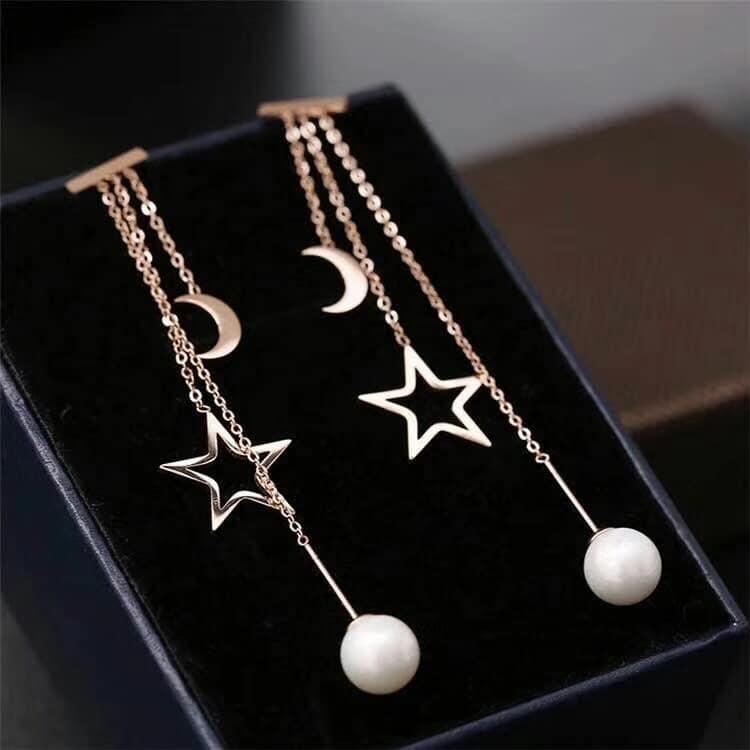 Обеци от стомана и естествени перли със сертификат.Уникална имитация на злато.Не променя цвета си.