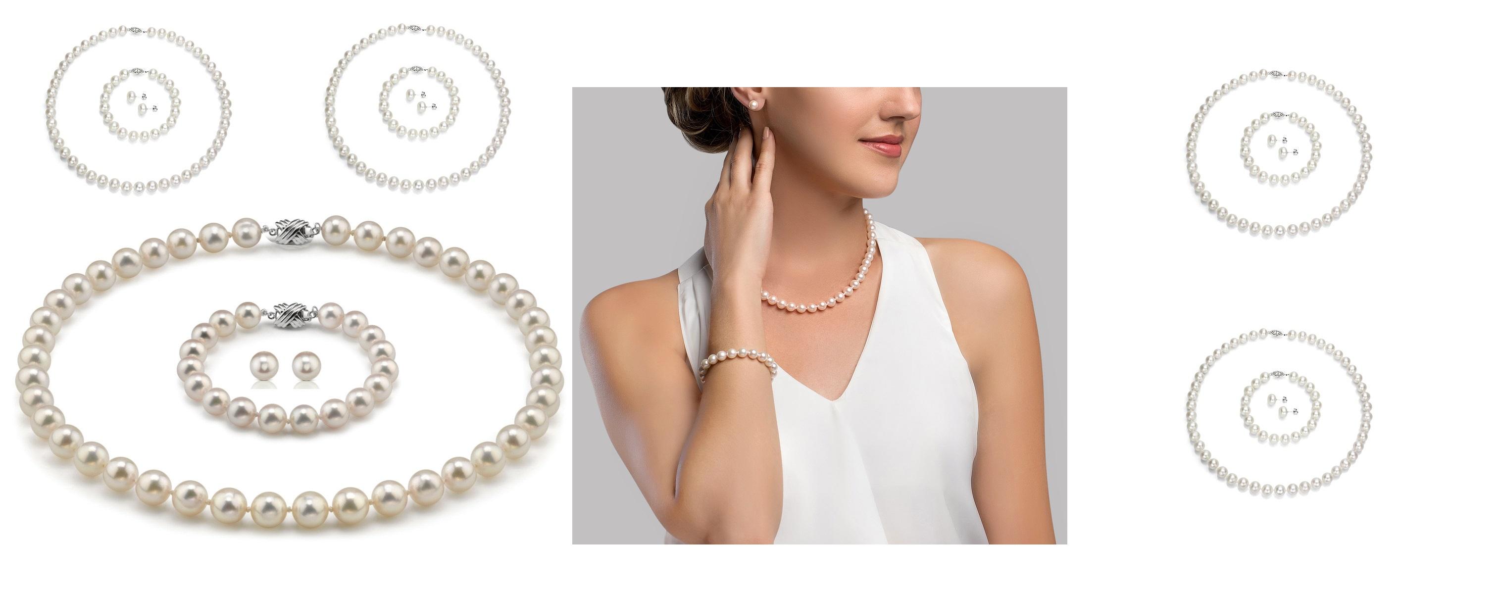 Колие,обеци,и гривна от естествени перли от Майорка