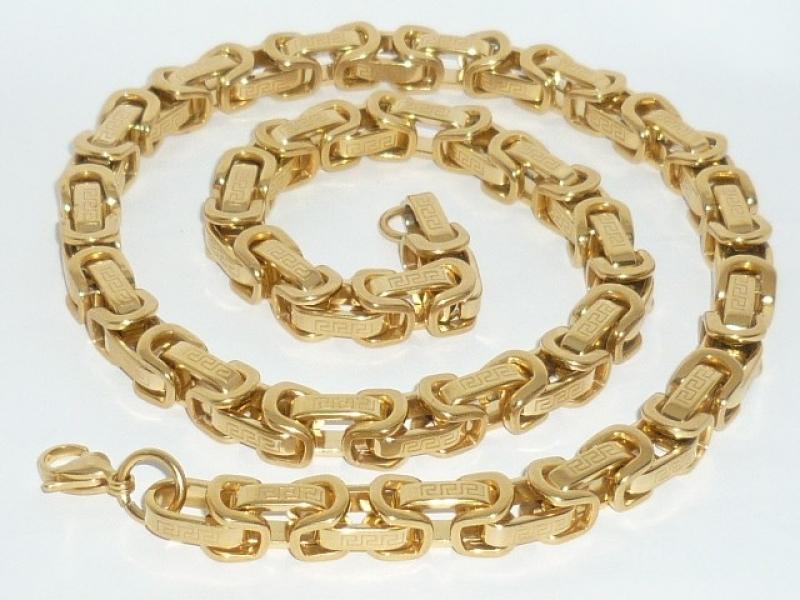 Ланец от медицнска стомана златна плетка