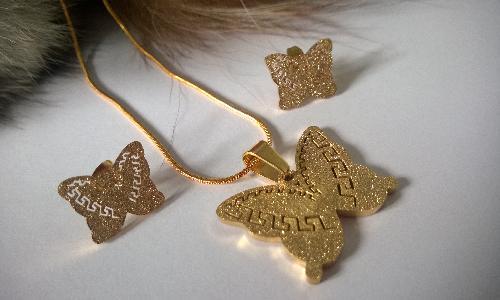 Колие и обеци от Сваровски елементи и метал (стомана) на бижутата