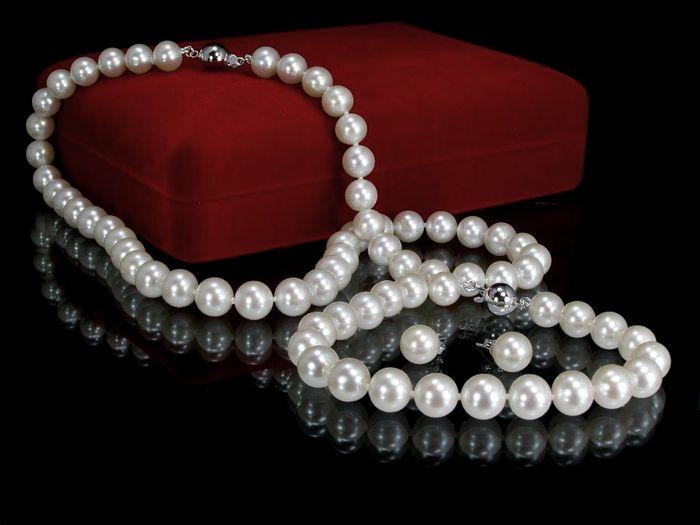 Колие обеци и гривна от естествени перли с гаранция и сертификат+елегантна кутия за бижута