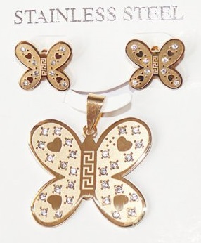 Бижута пеперуди колие и обеци от стомана