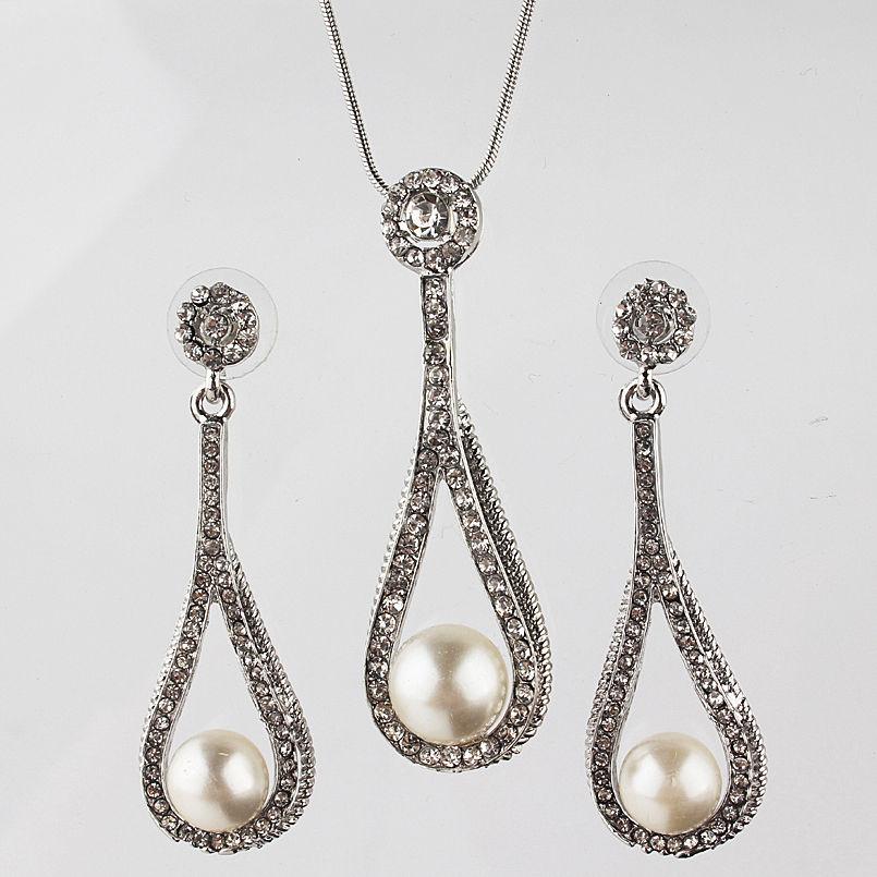 Колие и обеци от естествени перли със Сваровски елементи и бяло злато 18КТ