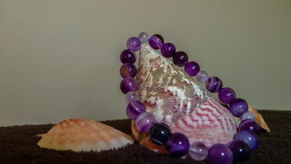 Гривна от АХАТ  И РОЗОВ КВАРЦ -полускъпоценни камъни.Гривни от естествени камъни.
