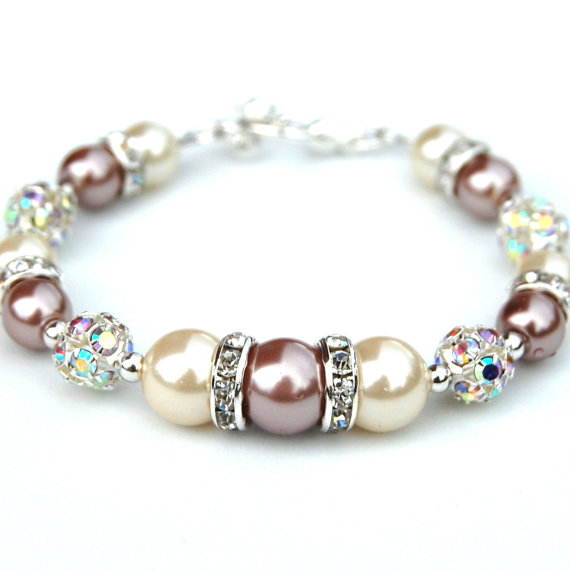 Гривна от естествени перли-кафяви перли