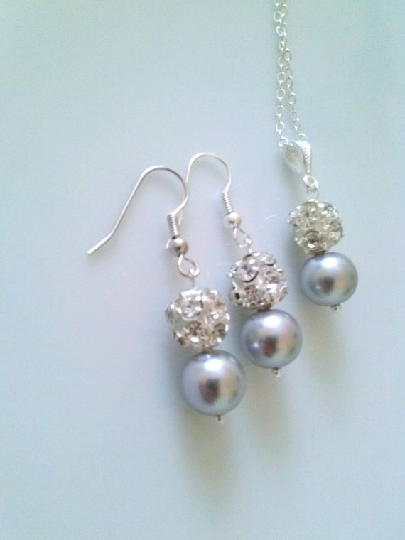 Колие и обеци от естествени перли и Сваровски елеменети
