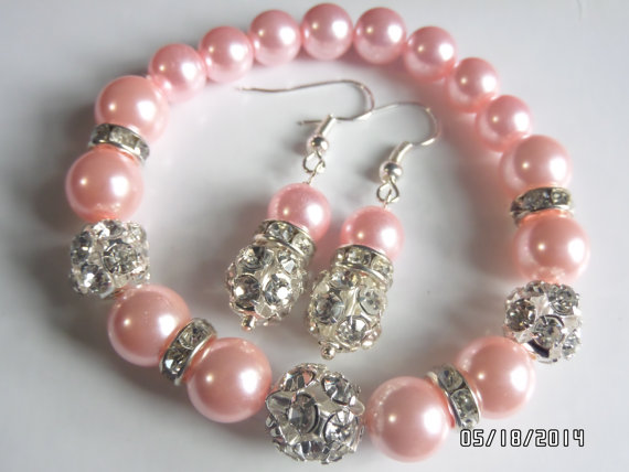 Евтини бижута от перли.Гривна и обеци от естествени перли