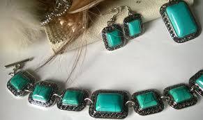 Колие обеци и гривна от тюркоаз-естествени камъни