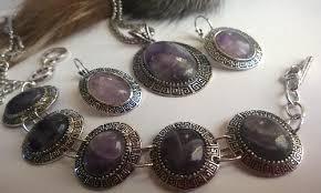 Колие обеци и гривна от естесвени камъни-АМЕТИСТ