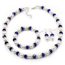 Комплект огърлица, гривна и обеци от естествени перли от о-в Майорка и австрииски кристали