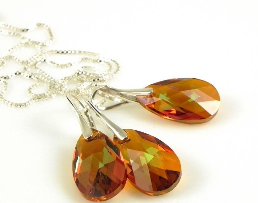 Колиета и обеци от Сваровски елементи и кристали